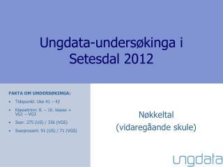 Ungdata-undersøkinga i Setesdal 2012