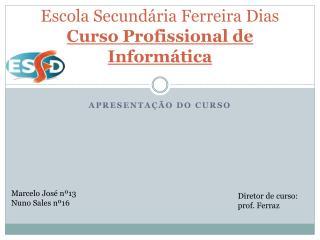 Escola Secundária Ferreira Dias Curso Profissional de Informática
