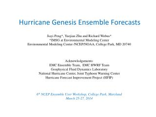 Hurricane Genesis Ensemble Forecasts