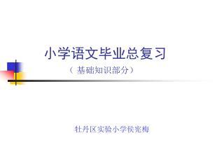 小学语文毕业总复习 ( 基础知识部分)