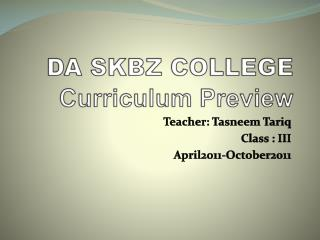 DA SKBZ COLLEGE Curriculum Preview