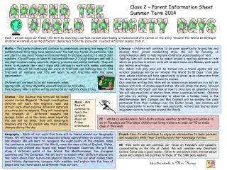 Class 2 – Parent Information Sheet Summer Term 2014