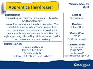 Full Description A fantastic opportunity to join a salon in  Thrapston , Northamptonshire.