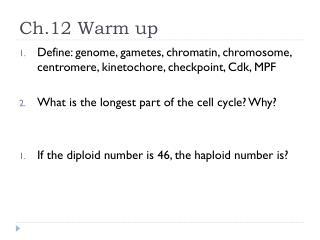 Ch.12 Warm up