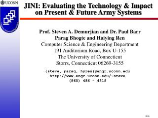 JINI: Evaluating the Technology & Impact on Present & Future Army Systems