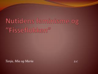 """Nutidens feminisme og """"Fisseflokken"""""""