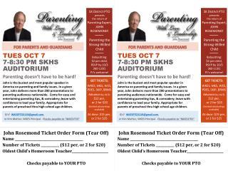 SK District PTO presents the return of Parenting Expert, JOHN ROSEMOND! Parenting the