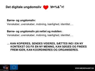 """Det digitale ungdomsliv !#¤%& """" ¤!"""