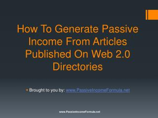 How To Generate Passive Income From Articles Published On We