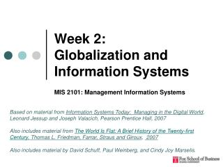 Week 2:  Globalization and Information Systems