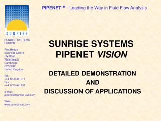 SUNRISE SYSTEMS PIPENET  VISION