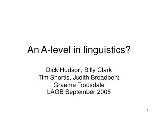 An A-level in linguistics?
