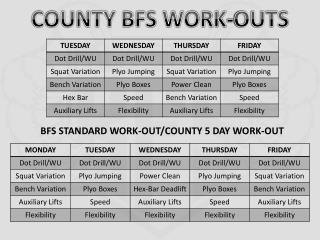 BFS STANDARD WORK-OUT/COUNTY 5 DAY WORK-OUT