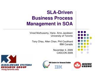 SLA-Driven Business Process Management in SOA
