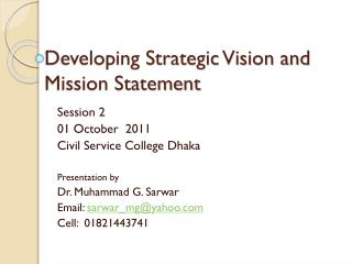 Developing Strategic Vision and Mission Statement