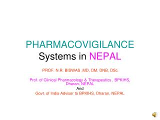 PHARMACOVIGILANCE Systems in NEPAL