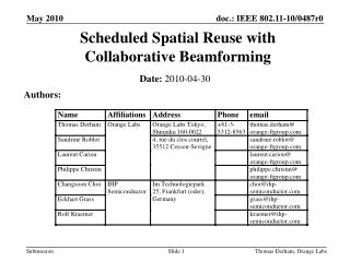 Scheduled Spatial Reuse with Collaborative Beamforming