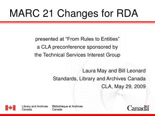 MARC 21 Changes for RDA