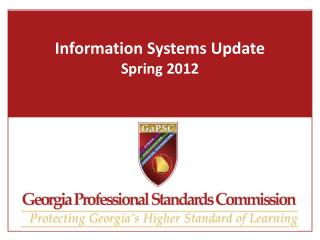 Information Systems Update Spring 2012