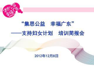 """""""集思公益 幸福广东"""" —— 支持妇女计划 培训简报会"""
