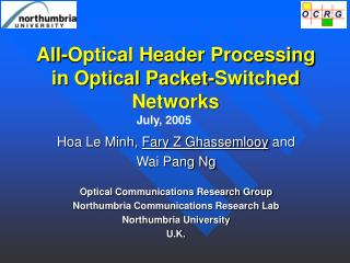 All-Optical Header Processing in Optical Packet-Switched Networks