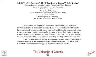 R. LOWE, C. J. Cieszewski 1 , H. J-H Whiffen 2 , M. Zasada 3,4 , B. E. Borders 5