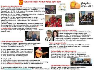Kulturkalender Kultur Helse april 2011
