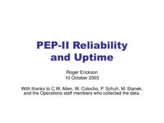 PEP-II Reliability and Uptime