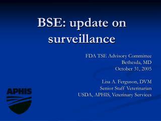 BSE: update on surveillance