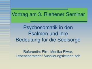 Vortrag am 3. Riehener Seminar