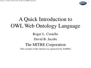 A Quick Introduction to OWL Web Ontology Language