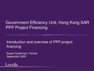 Government Efficiency Unit, Hong Kong SAR PPP Project Financing
