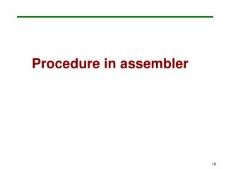 Procedure in assembler
