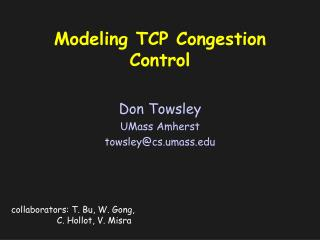 Modeling TCP Congestion Control
