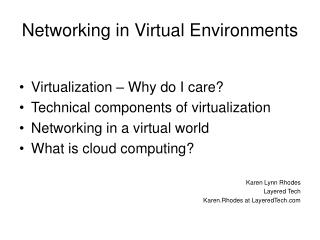 Networking in Virtual Environments