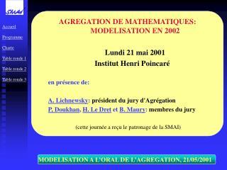 MODELISATION A L'ORAL DE L'AGREGATION, 21/05/2001