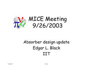 MICE Meeting 9/26/2003