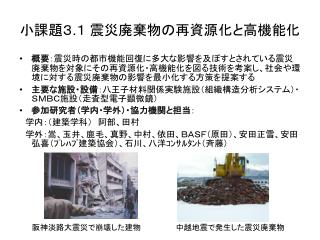 小課題3 . 1 震災廃棄物の再資源化と高機能化