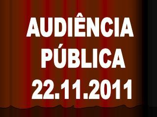 AUDIÊNCIA  PÚBLICA 22.11.2011