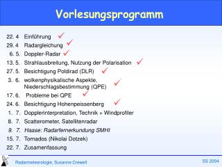 Vorlesungsprogramm