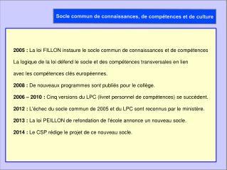 2005: La loi FILLON instaure le socle commun de connaissances et de compétences