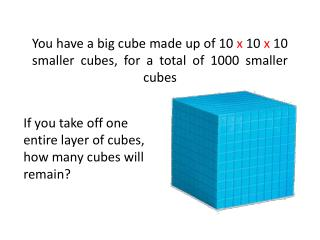 You have a big cube made up of 10 x 10 x 10 smaller cubes, for a total of 1000 smaller cubes