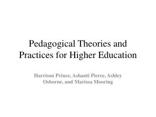Pedagogical Theories and Practices for Higher Education