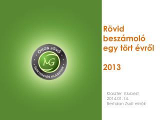 Rövid beszámoló egy tört évről 2013