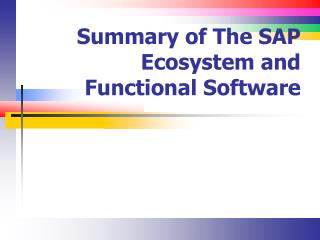 Summary of The SAP Ecosystem and Functional Software