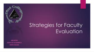 Strategies for Faculty Evaluation