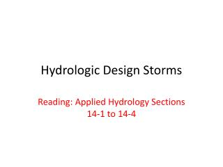 Hydrologic Design Storms