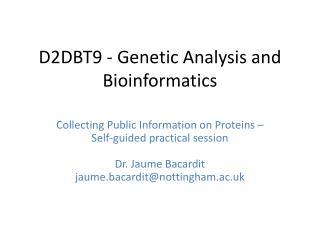 D2DBT9 - Genetic Analysis and Bioinformatics