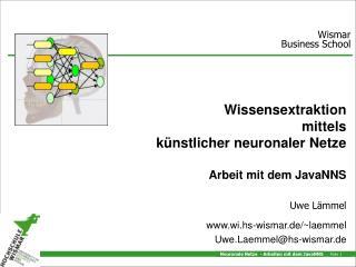Wissensextraktion mittels künstlicher neuronaler Netze Arbeit mit dem JavaNNS