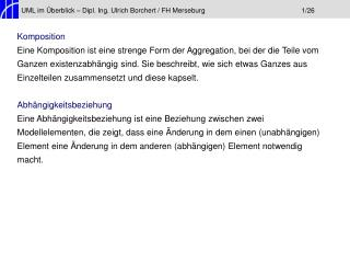 UML im Überblick – Dipl. Ing. Ulrich Borchert / FH Merseburg1/26